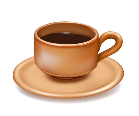 Cup of coffee on white background. Vector illustration.