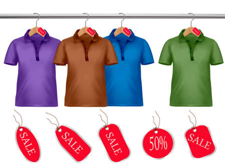 clothes hanger: Clothes hanger with shirts with price tags. Vector.