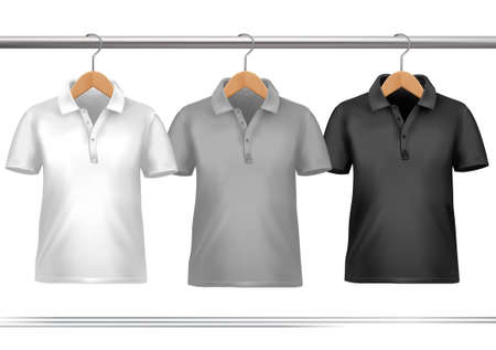shirts on hangers: Clothes hanger with shirts. Vector