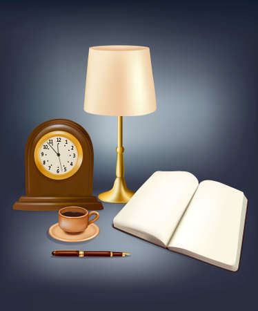 Blank calendar, open book, lamp and a pen on blue background. Vector Stock Vector - 10017356