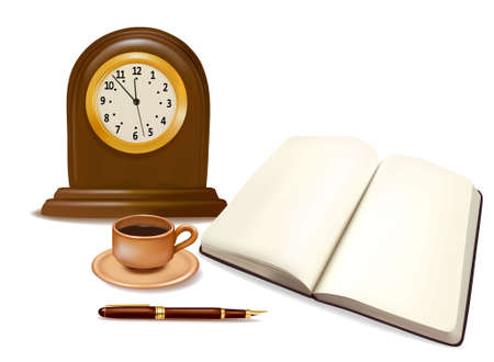 Calendar, coffee, pen and a book andOld-fashioned clock. Vector. Stock Vector - 10017354