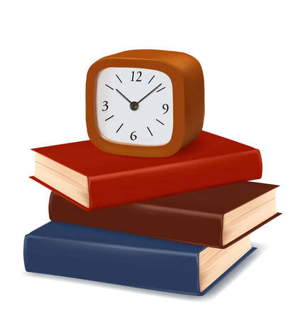 school work: Stack of colorful books and clock on white background. Vector.