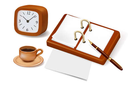 Open book, clock and a cup of coffee. Design elements. Vector. Vector