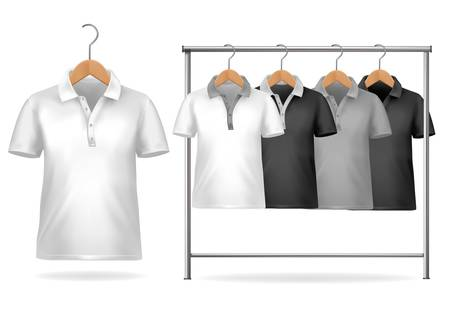 polo shirt: Black and white t-shirt design template. Clothes hanger with shirts. Vector illustration.