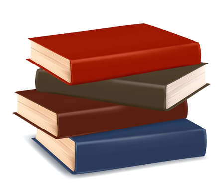 back icon: Stack of colorful books on white background. Vector.