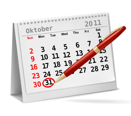 31th: Desktop calendar with a marked 31th of October, The Halloween. Vector. Illustration
