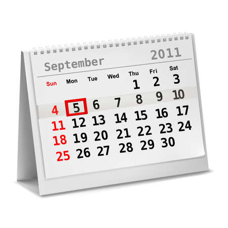 5th: Desktop calendar with a marked 5th of September, The Labor Day. Vector.