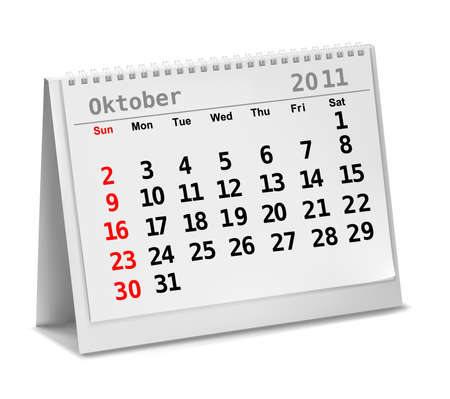 Desktop calendar with a marked 5th of October,  Vector. Vector
