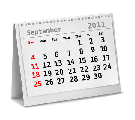 Desktop calendar with a marked 5th of September, The Labor Day. Vector. Vector