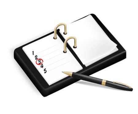 cheque en blanco: Bloc de notas con casillas de verificaci�n y pluma. Ilustraci�n vectorial.