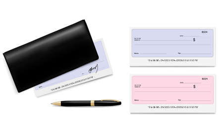 check blank: Black checkbook with checks (cheques) and pen. Vector illustration.