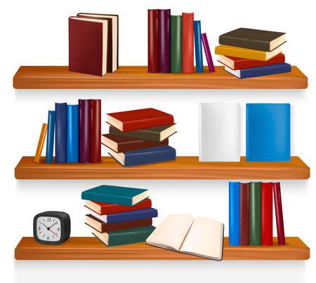 wooden shelves:  Bookshelf with books. Vector illustration.