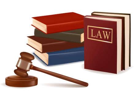 orden judicial: Juez libros de derecho y martillo. Vector fotorrealistas.