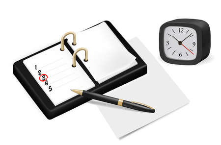 feedback form: Notepad with checkboxes and pen. Vector illustration.