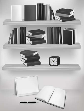 Bookshelf with books and table. Vector illustration. Vector
