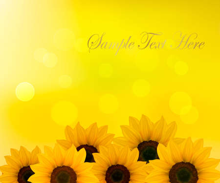 Background with yellow sunflowers. Vector illustration. Vector