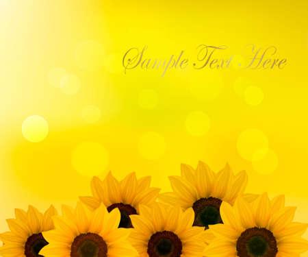 graine tournesol: Contexte avec des tournesols jaunes. Vector illustration. Illustration