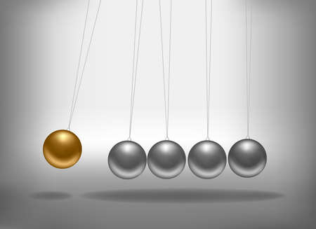 Newtons cradle with a gold sphere. Concept of teamwork. Vector illustration. Vector