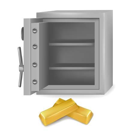 reserves: Steel safe with gold bars. Vector illustartion