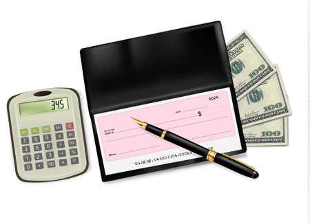 rekenmachine: Zwarte chequeboek met cheque, rekenmachine en dollars. Vector illustratie.