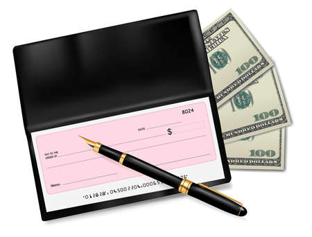 blank check: Black checkbook with check, pen and dollars. Vector illustration.
