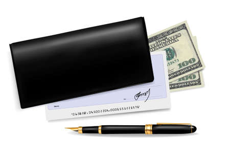 saving accounts: Black checkbook with check, pen and dollars. Vector illustration.