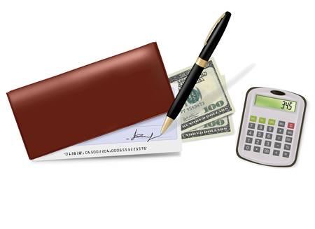 personal banking: Libretto degli assegni marrone con assegno, calcolatrice e dollari. Illustrazione vettoriale.