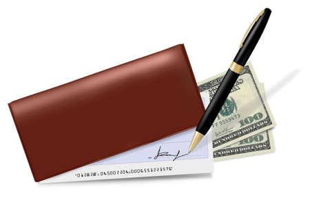 chequera: Chequera marrón con cheque, pluma y dólares. Ilustración vectorial.