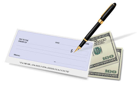 Black checkbook with check, pen and dollars. Vector illustration.