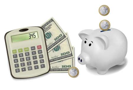 Calculator and money. Vector illustration.