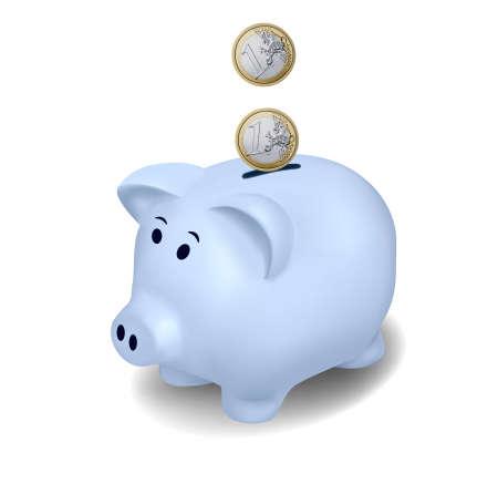 Euro coins falling into piggy bank. Vector. Vector