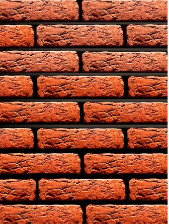stucco facade: Red brick wall background. Vector illustration.