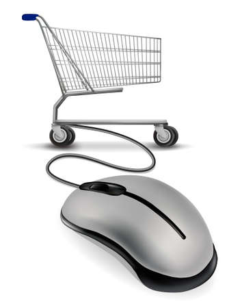 computer cable: A mouse connected to a shopping cart. internet shopping concept.