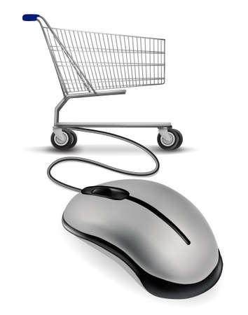 souris: Une souris connect�e � un panier. concept de magasinage sur Internet.