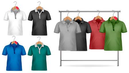 business shirts: Plantilla de dise�o de camiseta de blanco y negro. Colgador de ropa con camisas con las etiquetas de precio. Ilustraci�n vectorial.