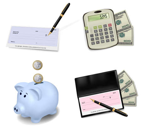 business transaction: Set with office and business supplies. Vector Illustration