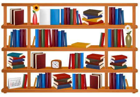 purchase book: Vector wooden bookshelves.