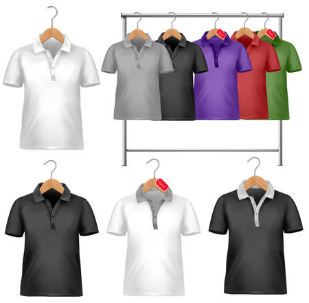 Black and white t-shirt modello. Appendiabiti con camicie con cartellini dei prezzi. Illustrazione vettoriale.