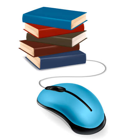 Stack of books and mouse. Online education and business concept. Vector