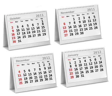 calendario escritorio: Calendario de escritorio 2011 - Octubre, Noviembre, Diciembre, 2012 - Enero. Vectores