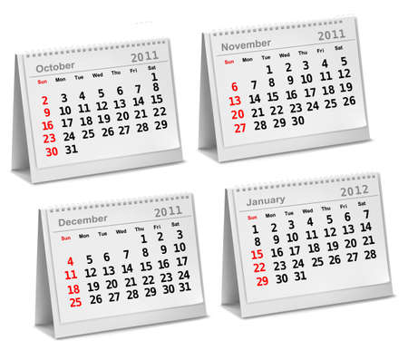 personal data assistant: Desktop calendar 2011 - October, November, December, 2012 - January.