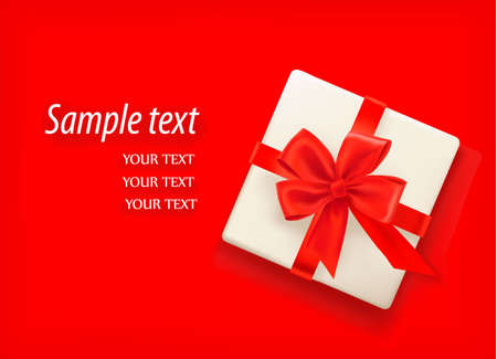 Red background with gift box and red ribbons.  Vector