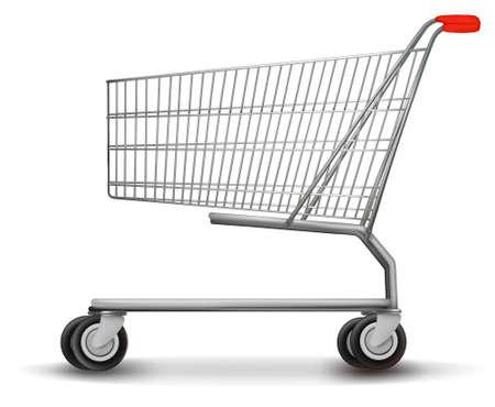 carro supermercado: Cesta de la compra aislados en fondo blanco. Ilustración vectorial.