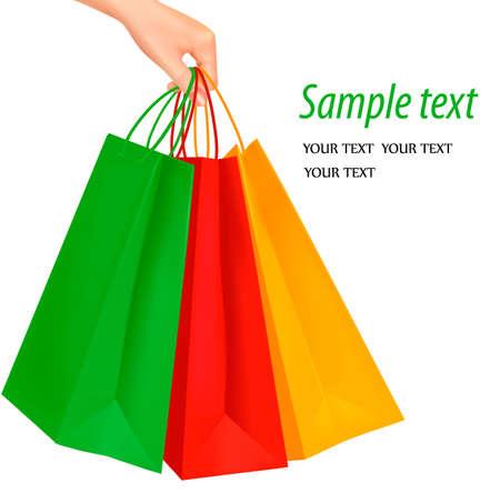 shoppen: Frau Hand mit einem B�ndel von Einkaufst�ten, isoliert auf wei�. Vektor Illustration