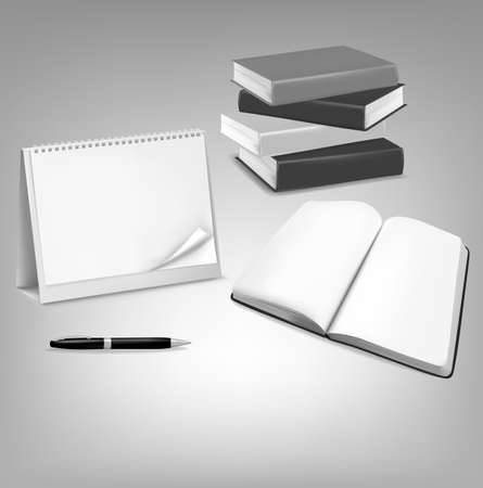 Blank calendar, blank book and a pen. Vector. Stock Vector - 11152538