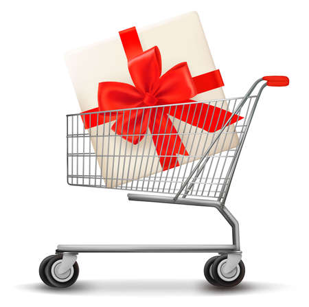 chrome cart: Shopping cart and gift box. Vector illustration. Illustration
