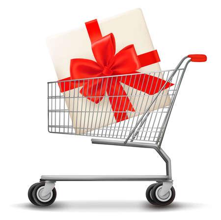 gift cart: Shopping cart and gift box. Vector illustration. Illustration