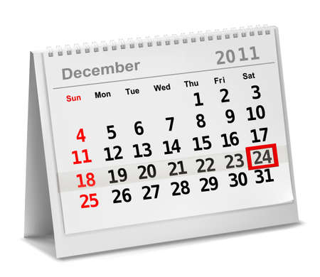 A date circled on a calendar with red ink. Vector illustration. Vector