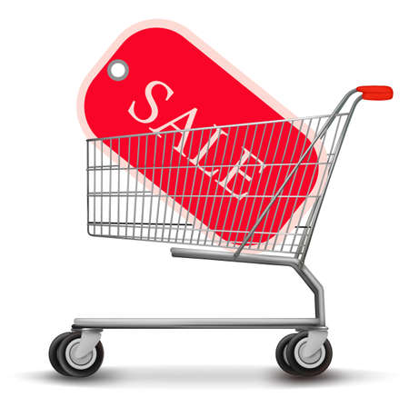Shopping cart with sale tag. Concept of discount. Vector illustration. Stock Vector - 11535876