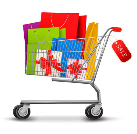 shopping cart: Shopping cart full of gift boxes and shopping bags with sale. Vector